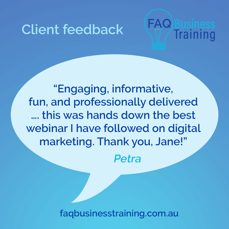 FAQ-Business-Training-Client-Feedback-Petra-Low-Cost-Online-Marketing-Workshop