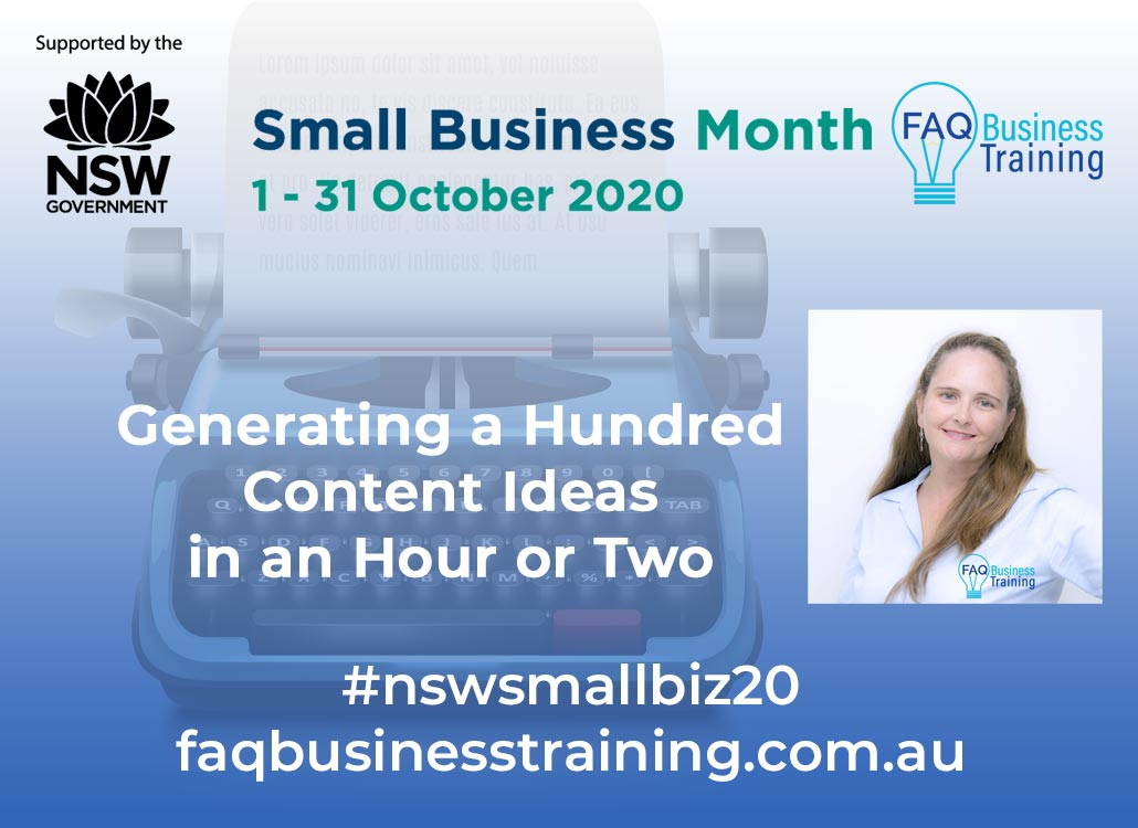 Generating-Content-Ideas-NSW-Small-Business-Month-FAQ-Business-Training